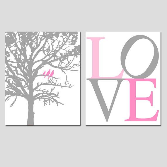 SALE  Birds in a Tree and LOVE Typography  Set of Two by Tessyla, $20.00
