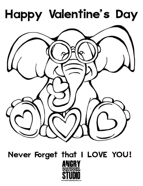 Free Coloring Page Never Forget I Love You Happy Valentine S Day Http Www Angrysquirre Valentine Coloring Elephant Coloring Page Valentines Day Coloring