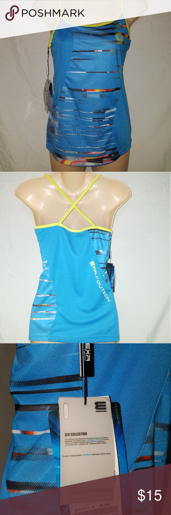 Exr Progressive Collection Active Wear Top New Activewear To By Exr Racing Color Neon Green Baby Blue Exr Collection Active Wear Tops Active Wear How To Wear