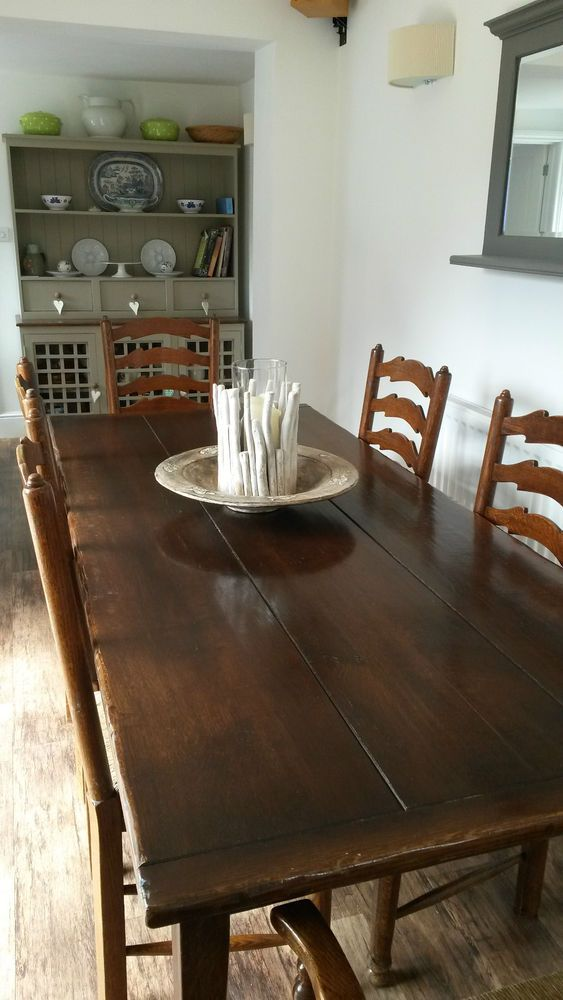 Brights Of Nettlebed Oak Refectory Table With 6 Chairs