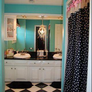 Girls Bathroom Cute Black U0026 White And The Turquois Walls
