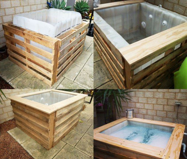 diy homemade swimming pool gallery wood crates hot tubs and tubs. Black Bedroom Furniture Sets. Home Design Ideas