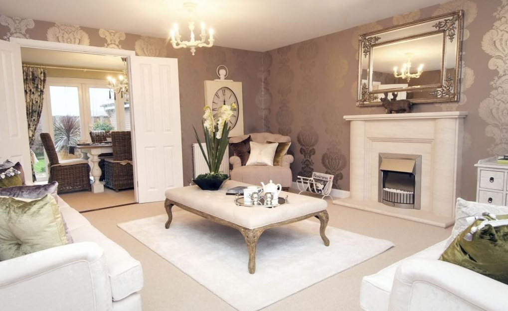 David Wilson Homes in Worcestershire. Fabulous luxurious and elegant living room in a French