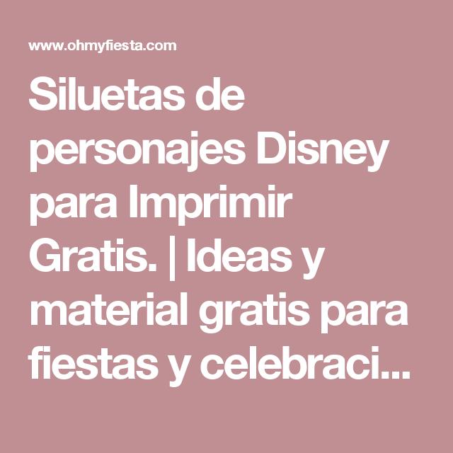 Siluetas de personajes Disney para Imprimir Gratis. | Ideas y ...