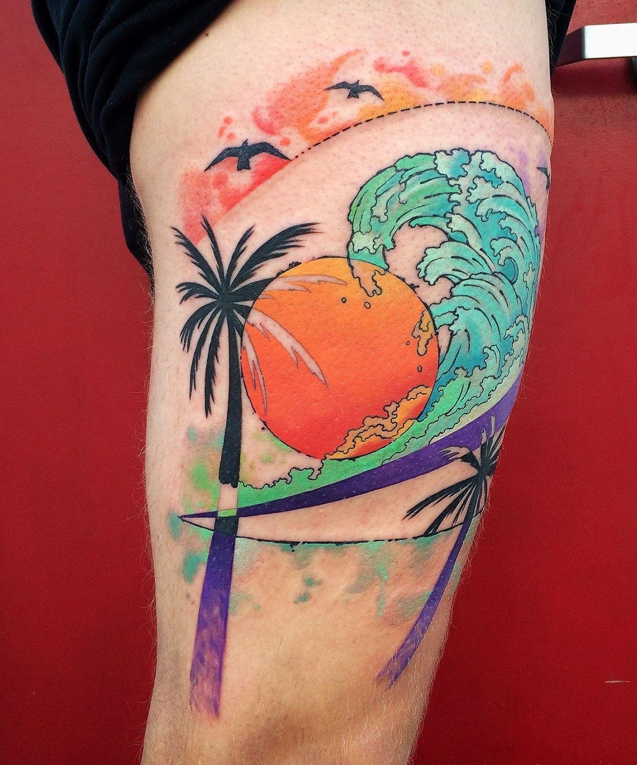 watercolor beach landscape tattoo by dinonemec com tattoo