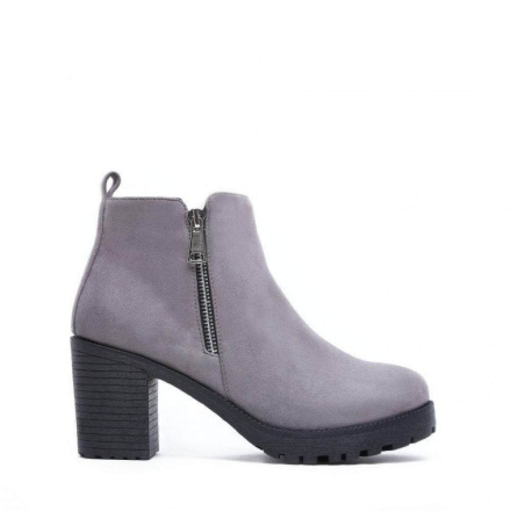 Buty Gruby Obcas Botki Zamszowe Szare Hurtownia Lub Import Ankle Boot Boots Shoes