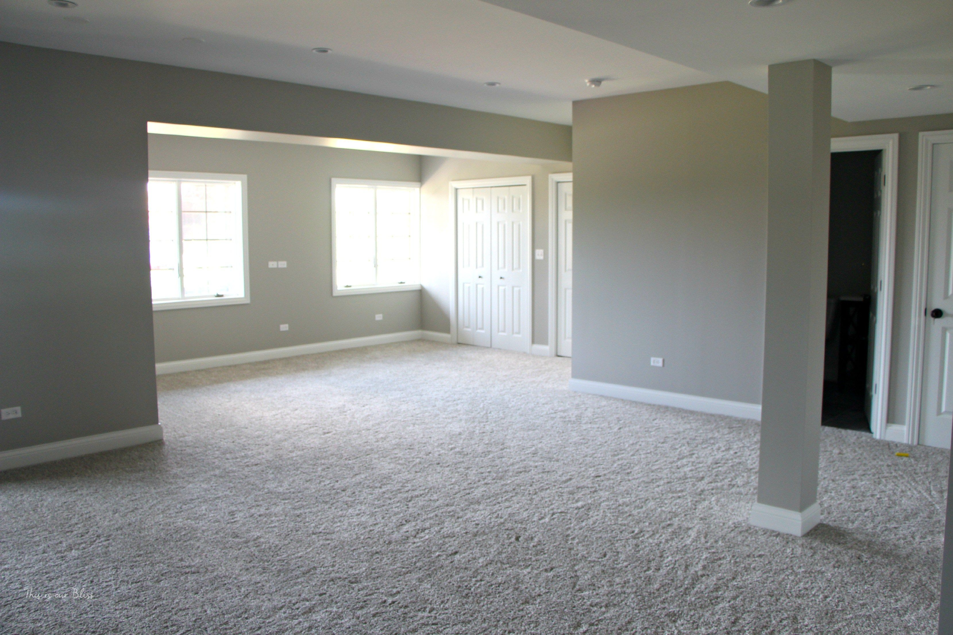 The Best Basement Paint Color And Carpet Choices This Is Our Bliss Basement Carpet Basement Paint Colors Basement Painting