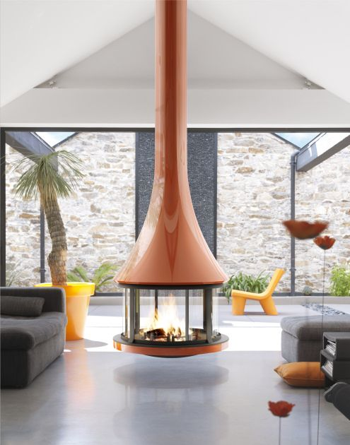 Round Suspended Fireplace With Glossy Burnt Orange Finish Modern