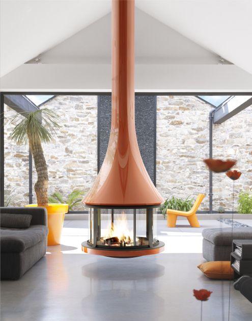 round freestanding fireplace