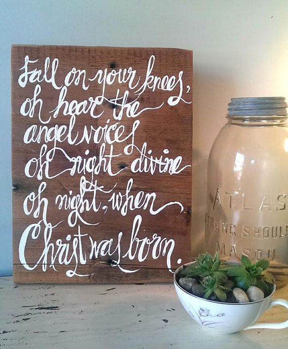 Fall On Your Knees Barnwood Sign by LilRedBrickHouse on Etsy barn wood christmas holiday quote ...