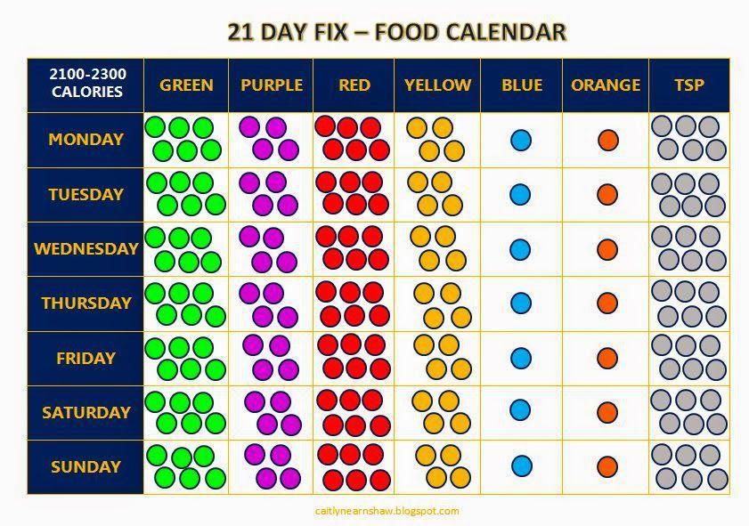 21 Day Fix - Food Calendar (2100-2300 calories) 21 day fix - 21 day fix spreadsheet