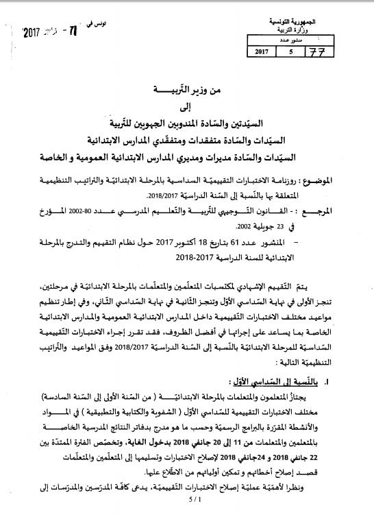 للأولياء الروزنامة الرسمية للاختبارات السداسية بالمرحلة الابتدائية بيان وزاري تونس الآن Math Math Equations