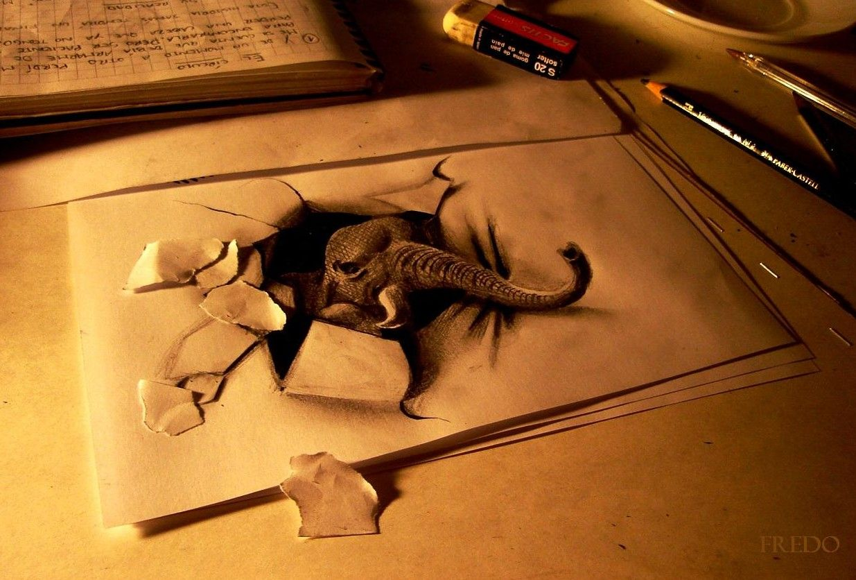 Pencil drawn 3D Art | i lkie the torn up paper to add the effect ...