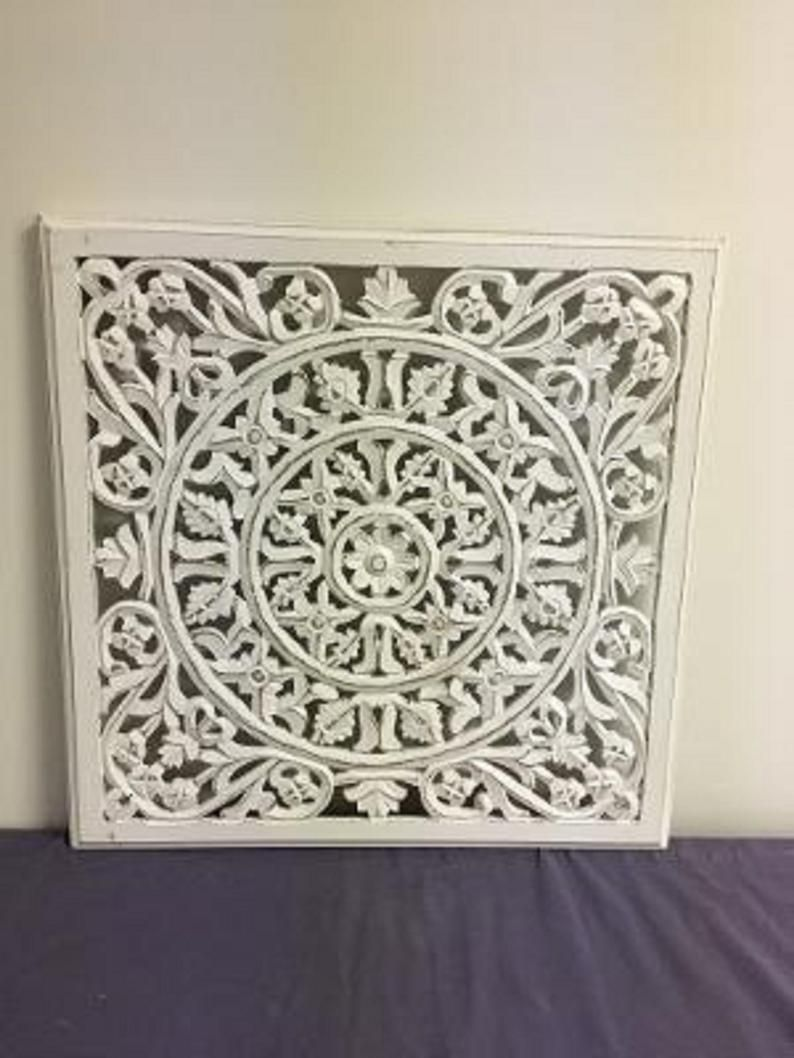 Carved Wood Wall Panel 24x24 Inch Antique White In 2020 Carved Wood Wall Panels Wood Panel Walls Wood Wall