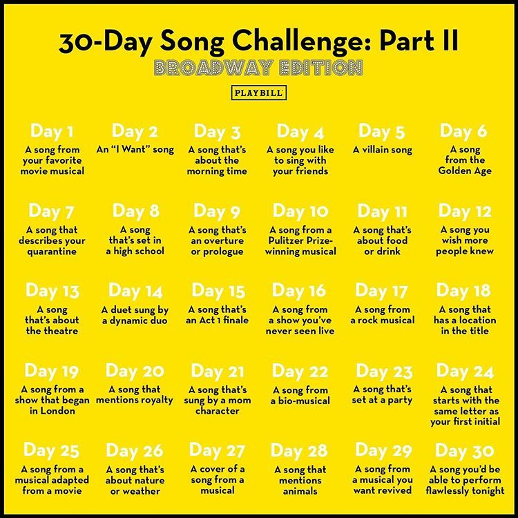 Playbill Na Instagramu You Asked We Answered Ready For 30 Day Song Challenge 2 Back In The Habit 30 Day Song Challenge Song Challenge Broadway Songs