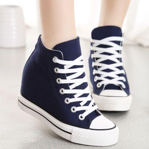 Lona para Mujer Cuña Oculta Alta-Top Zapatillas Zapatos Con Cordones Plataforma Tenis