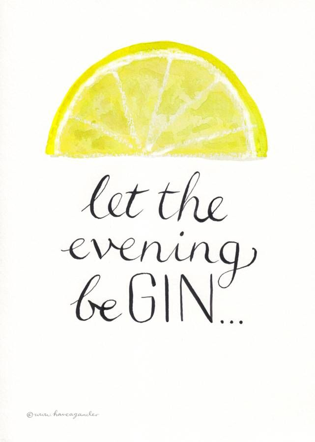 Personalised 39 let the evening be gin 39 print pinterest for Cocktail quote