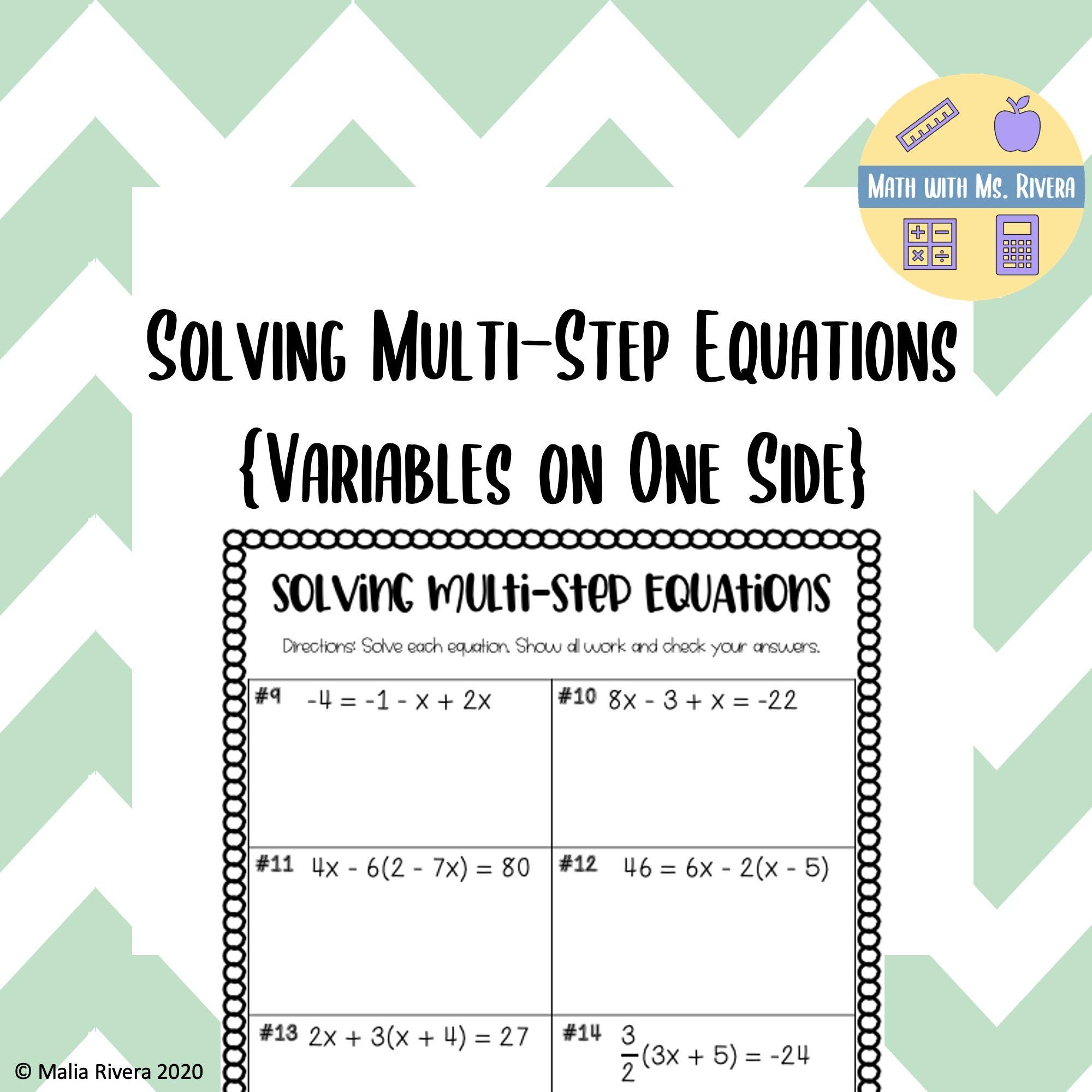 Solving Multi-Step Equations Worksheet   Multi step equations worksheets [ 2000 x 2000 Pixel ]