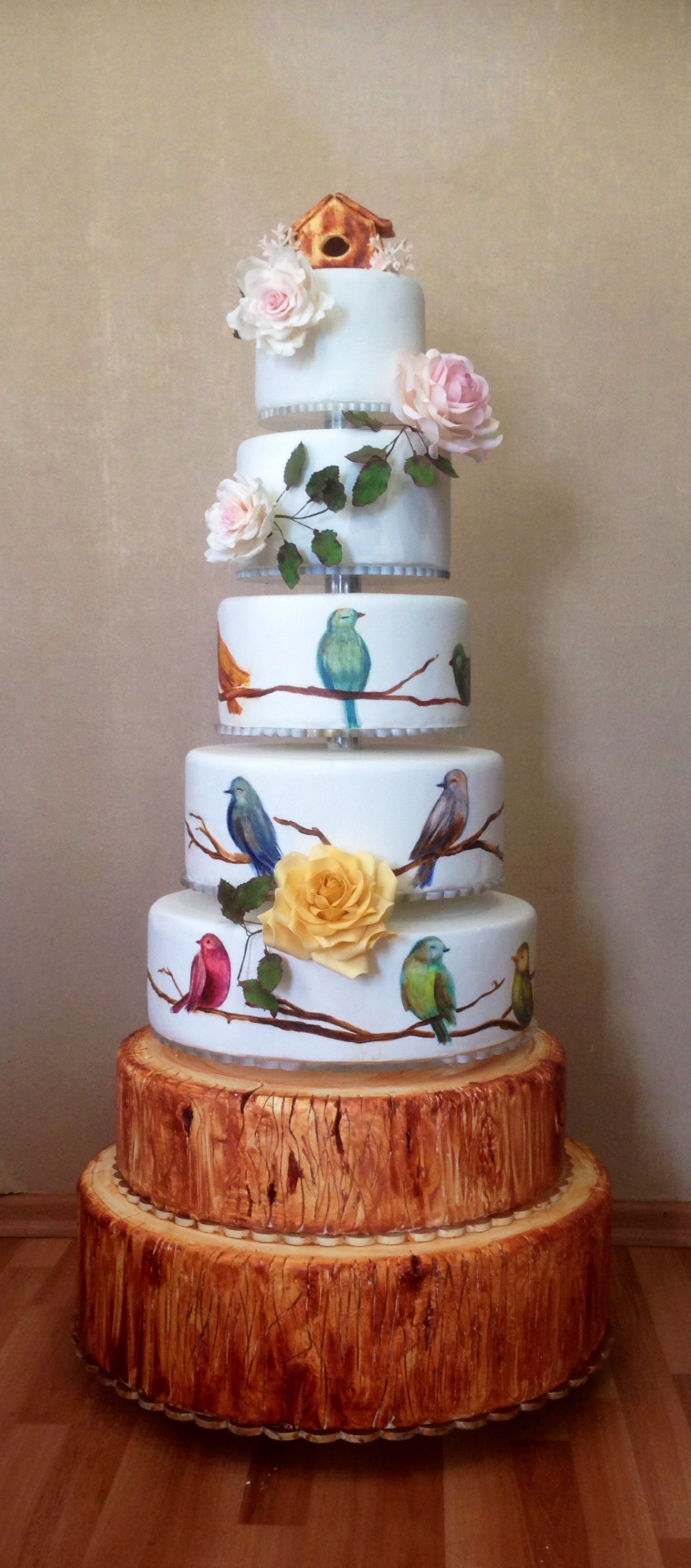 Birds Wedding Show Cake Edible Art Cake Painting Pasta Boyama