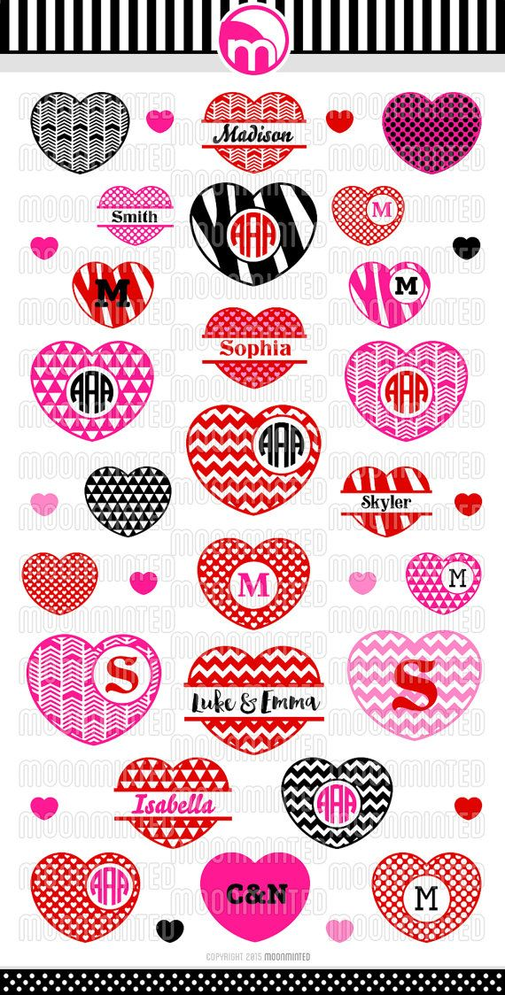 Valentine S Day Hearts 2 Svg Cut Files Monogram By Moonminted