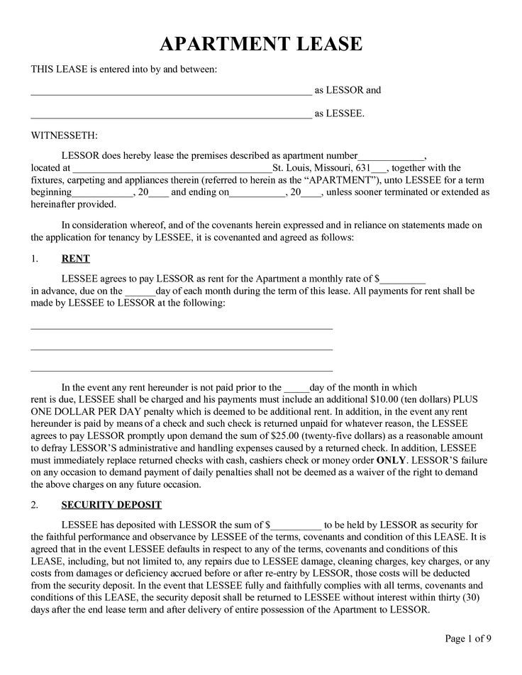 Printable Sample Rental Lease Form