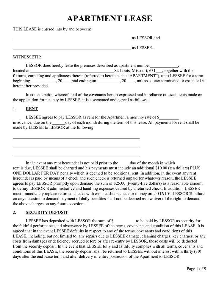 Printable Sample Rental Lease Form Apartment Lease Lease Agreement Free Printable Rental Agreement Templates