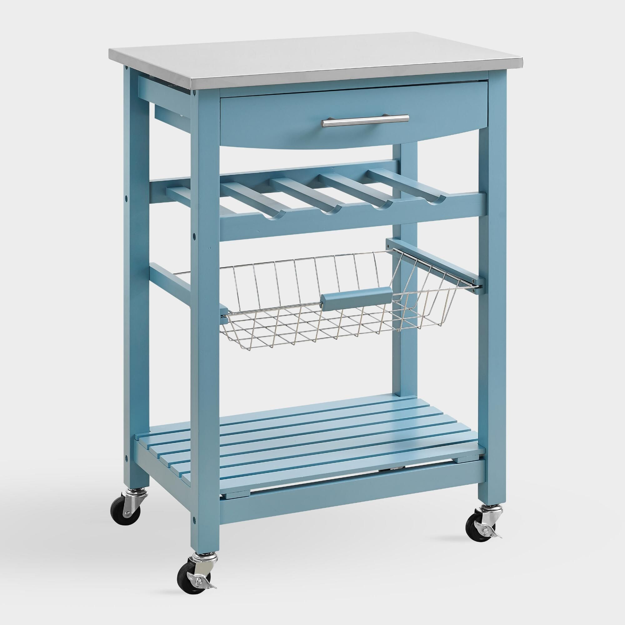 Blue Wood And Stainless Steel Grover Kitchen Cart Metal By World