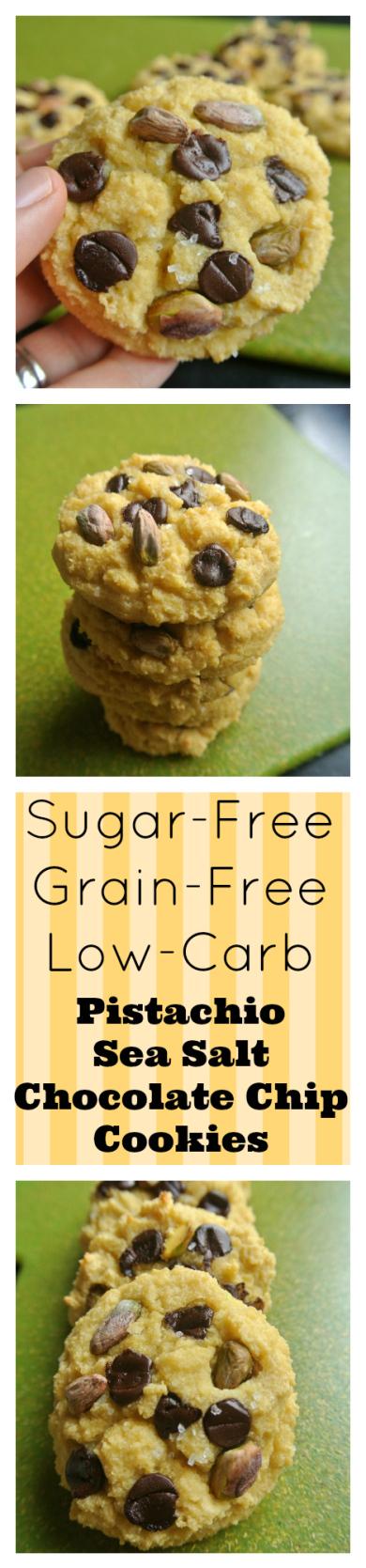 Sugar-Free Grain-Free Low-Carb Pistachio Sea Salt Chocolate Chip Cookies