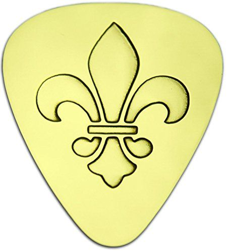 "Unique & Custom [0.38mm Thin Gauge - Traditional Style Semi Tip] Hard Luxury Guitar Pick Made of Genuine Solid Brass w/ Fleur-de-Lis Flourish Crown Design ""Gold Yellow Colored"" {Single Pick} mySimple Products"