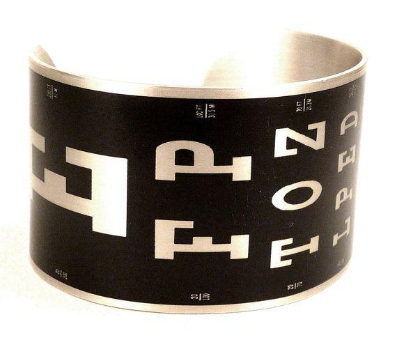 Eye Chart Aluminum Plated Cuff Bracelet, Optometry