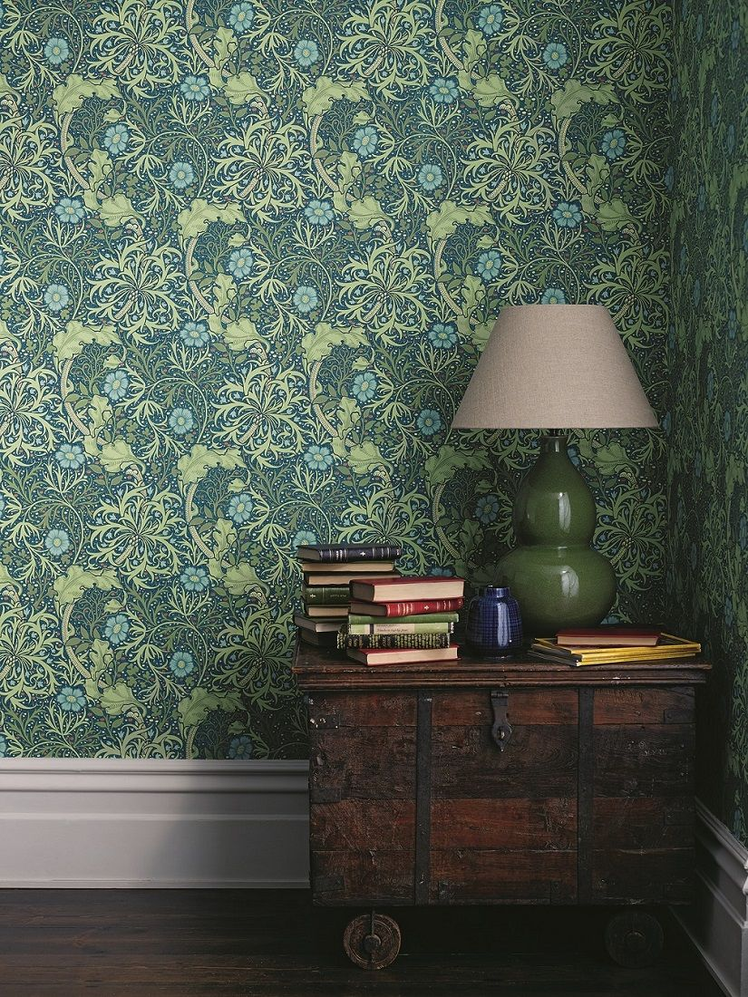 Morris Seaweed by Morris Ink / Woad Wallpaper 214714