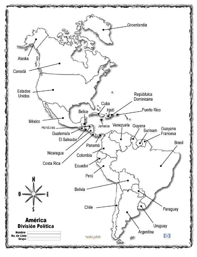Mapa de America para colorear - Nocturnar | Español | Pinterest ...