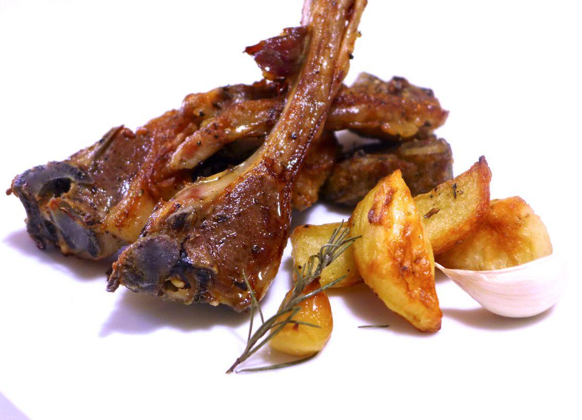 Marinated Greek Lamb Chops With Roast Potatoes Paidakia My Greek Dish Recipe Greek Recipes Lamb Chops Greek Lemon Potatoes
