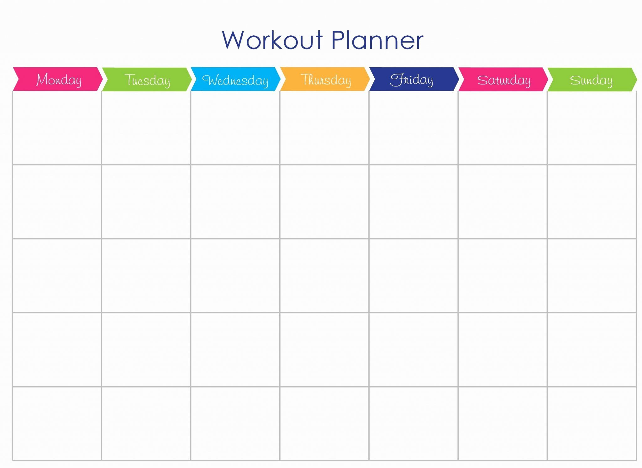 Printable Workout Fitness Template