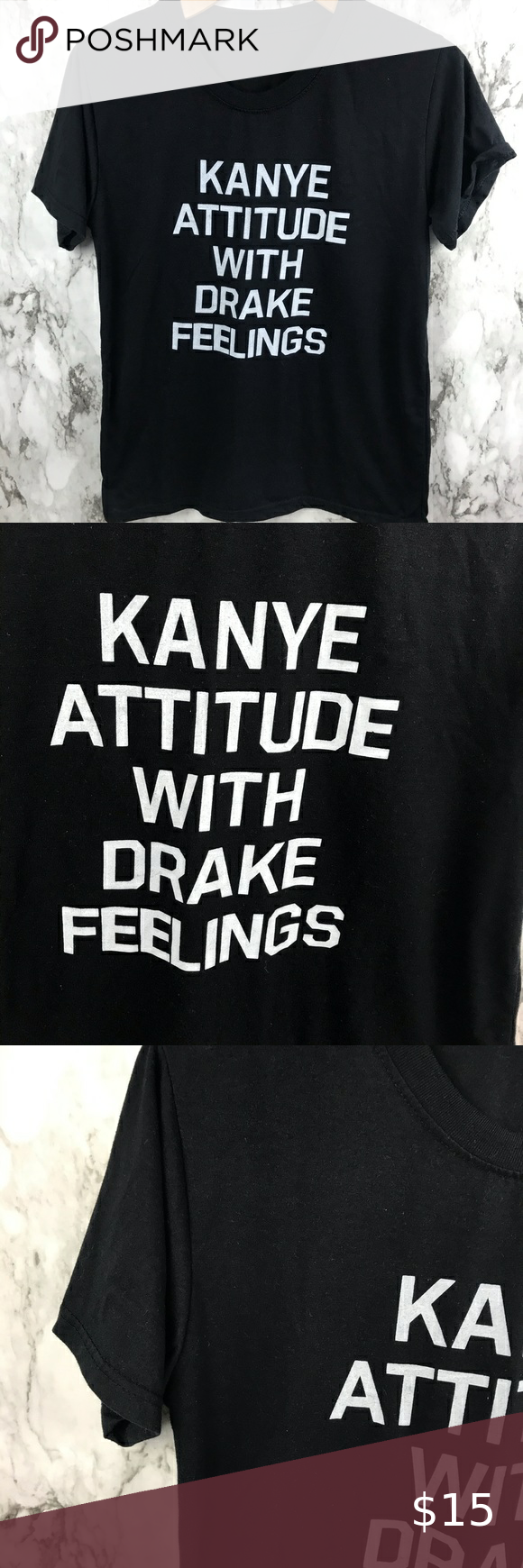 """Kanye Drake Print Shirt Black Size Medium Size tag missing but fits a Medium Pit to pit 19"""" Length is 26"""" #010 Tops Tees - Short Sleeve"""