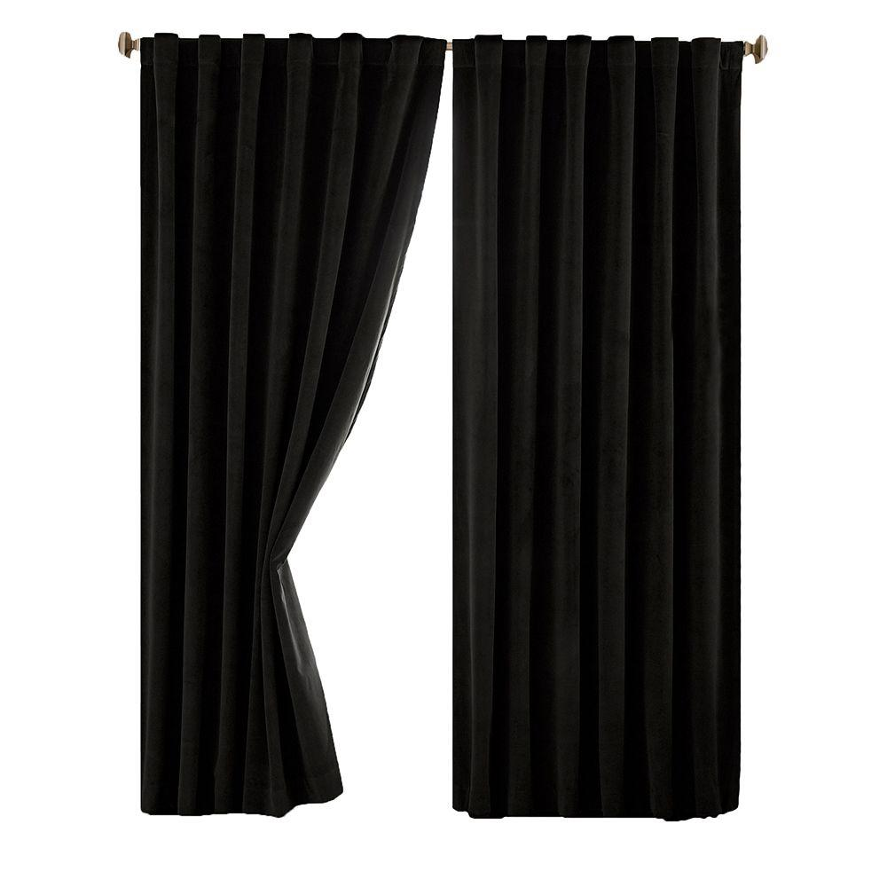 Absolute Zero Total Blackout Black Faux Velvet Curtain Panel 84 In Length Price Varies By Size Black Curtains Panel Curtains Velvet Curtains