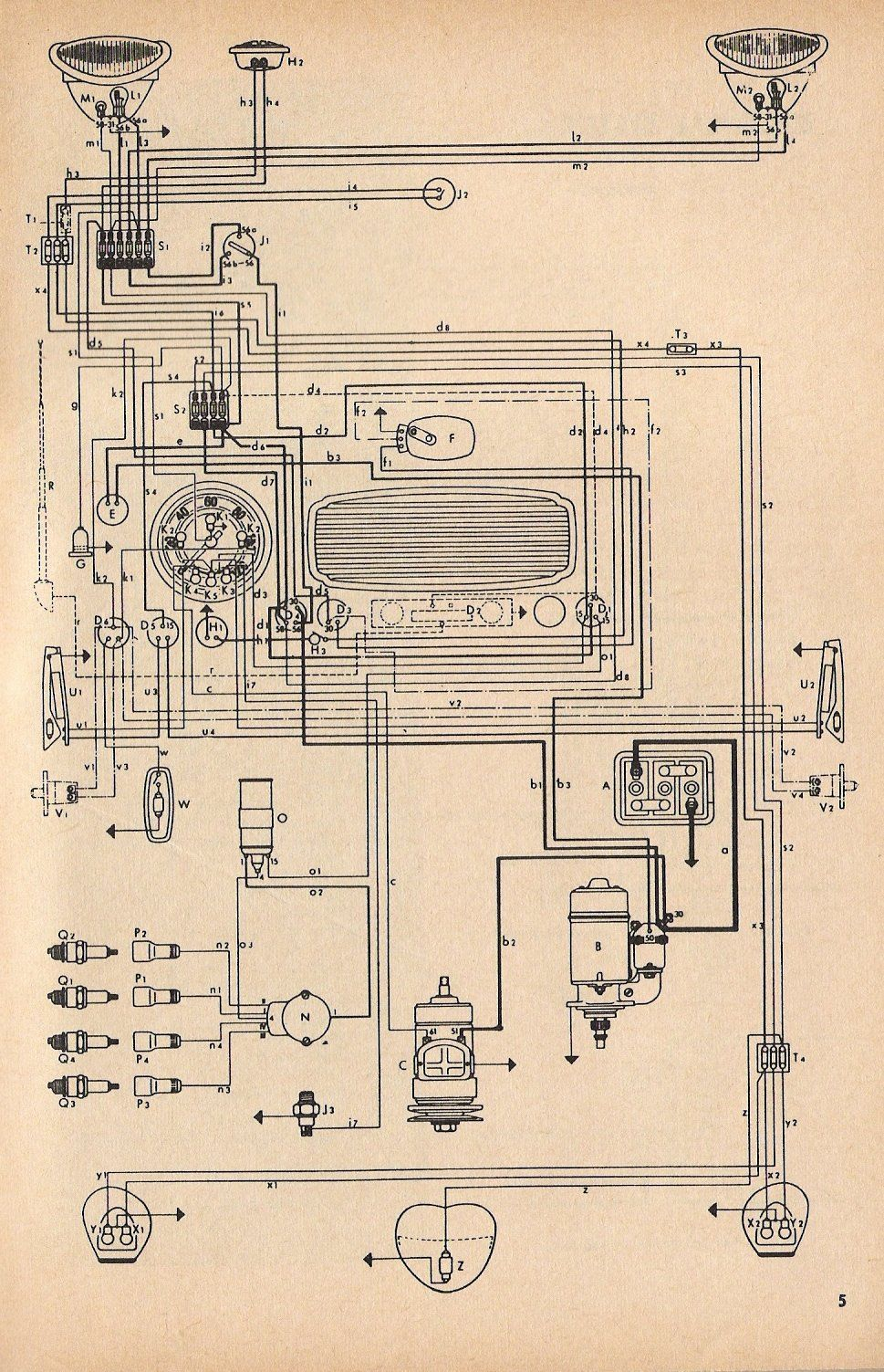 73aa9ad606b8bf00f62fd44f769ec35c wiring diagram vw beetle sedan and convertible 1961 1965 vw 1960 vw bus wiring diagram at fashall.co