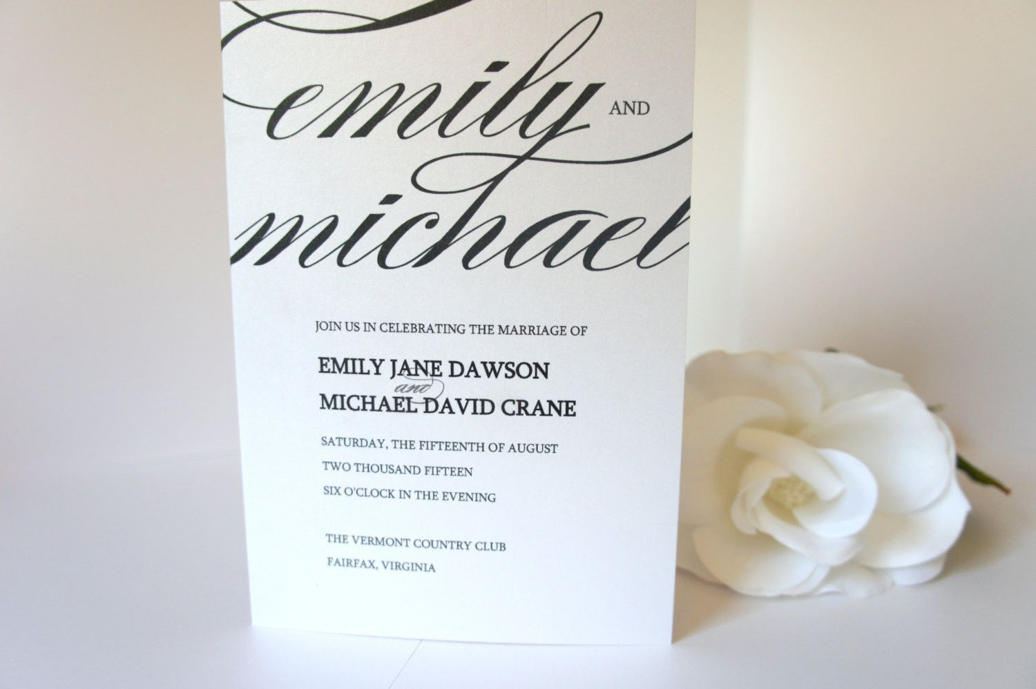 Calligraphy Wedding Ceremony Programs - DEPOSIT
