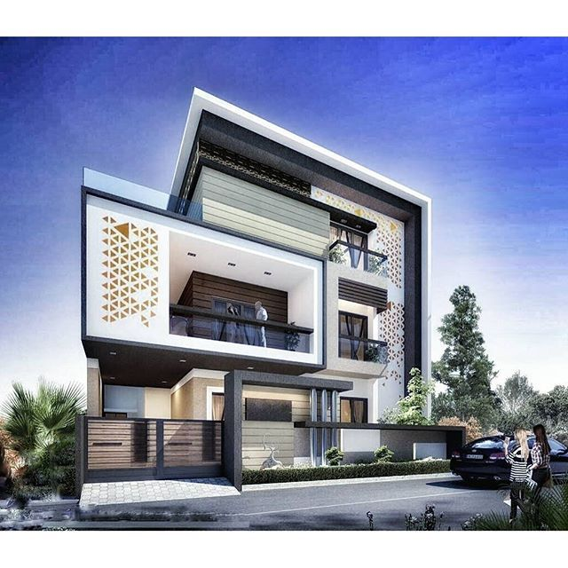 Exterior Bungalows Design . By @hs3dindia . #architect #architecture  #contemporary #arquitetura