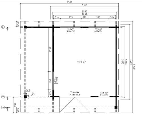 Gartenhaus Mini Hansa Lounge Grund Plan