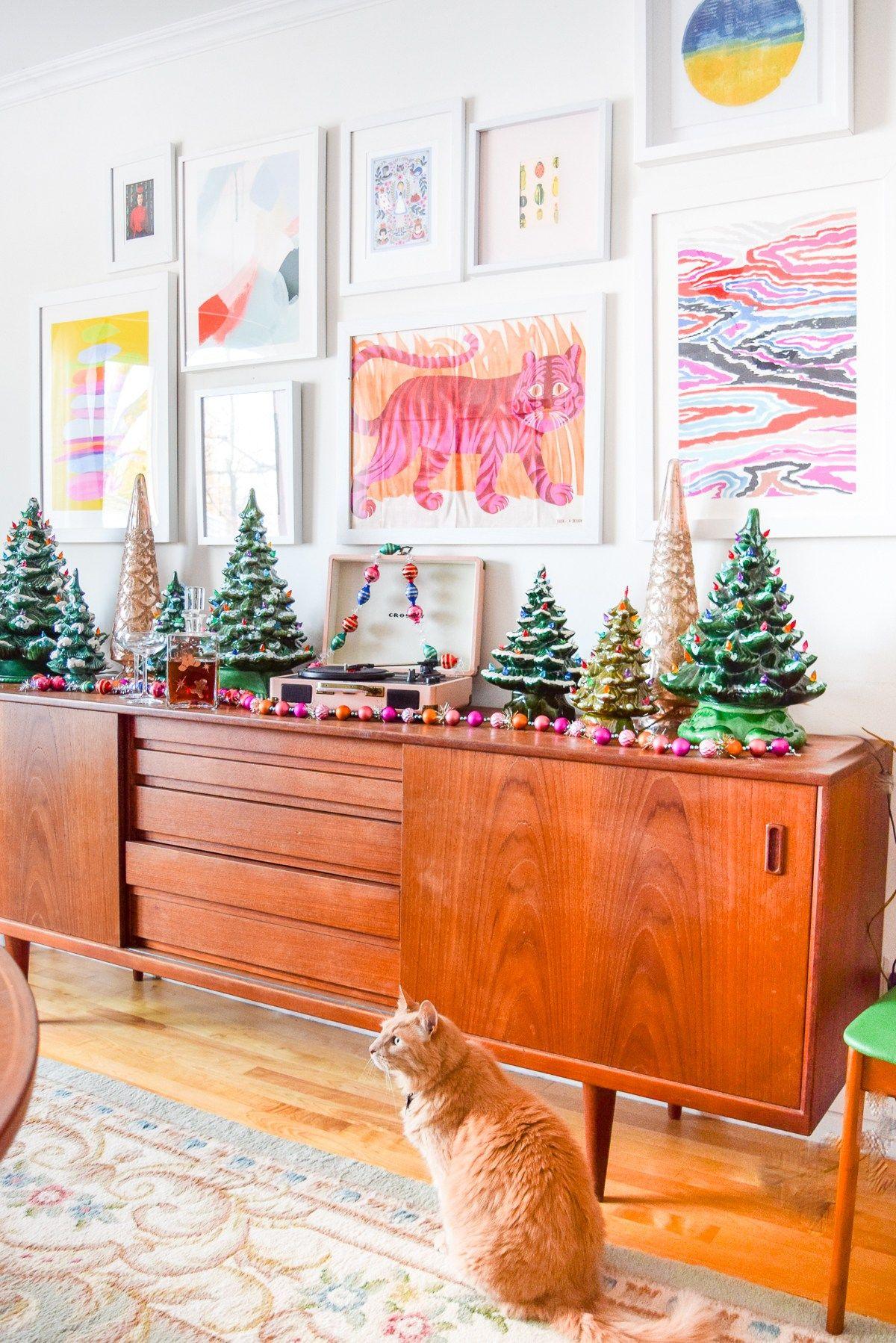 Ceramic Christmas Tree Sideboard Display Colorful