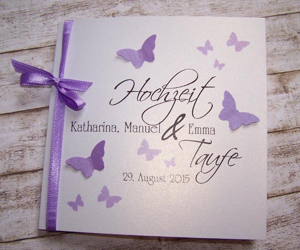 Einladung Hochzeit U0026 Taufe Flieder Schmetterlingsschwarm