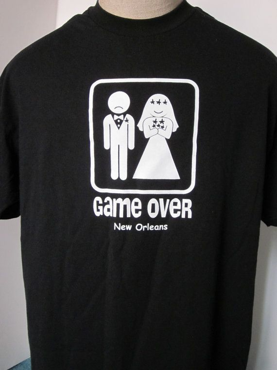 b65d889018 WEDDING-GAME OVER-Tee Shirt Black Vintage 90 s- Game Over-Bride and Groom  Sign Bachelor Party Shirt