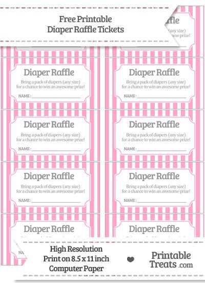 Free Carnation Pink Striped Diaper Raffle Tickets Terry Lynn\u0027s - boletos de rifas para imprimir gratis
