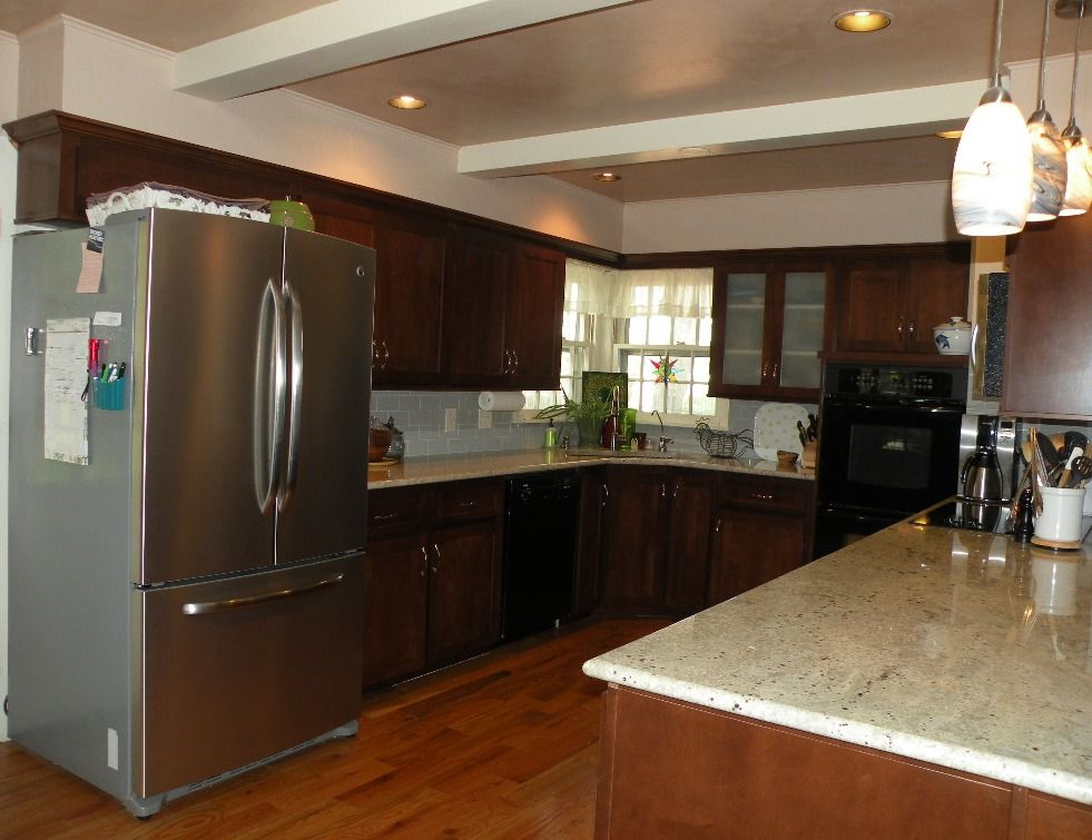 Reface And Custom Cabinetry, Maple Shaker Style, Granite, Glass Subway Tile  Splash,