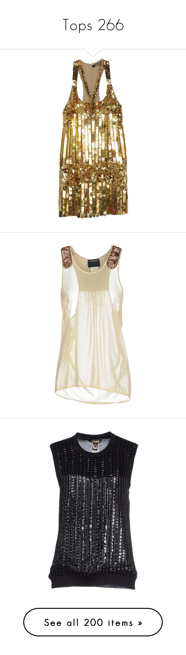 """""""Tops 266"""" by singlemom ❤ liked on Polyvore featuring tops, ivory, roberto cavalli, sleeveless tops, ivory sleeveless top, roberto cavalli tops, ivory top, dresses, gold and beaded sequin dress"""