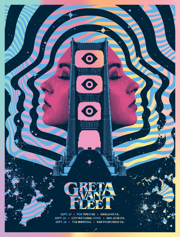 2018 greta van fleet psychedelic poster for their three