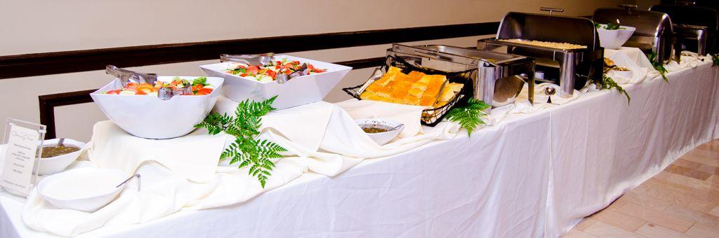 wedding buffet southern feast salad and cornbread