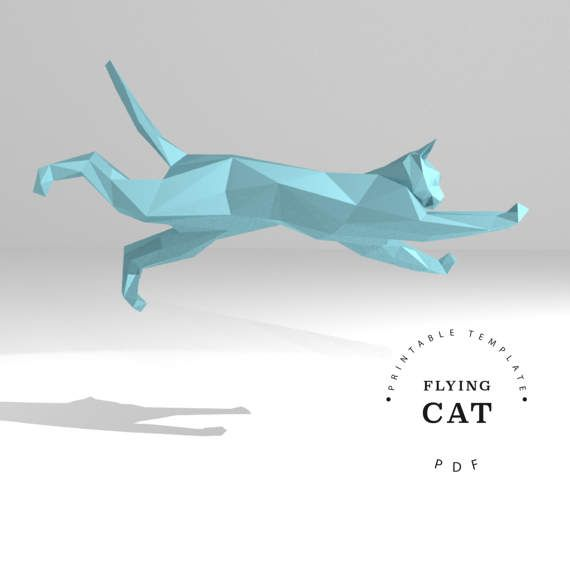 printable diy template pdo dxf flying cat low poly paper
