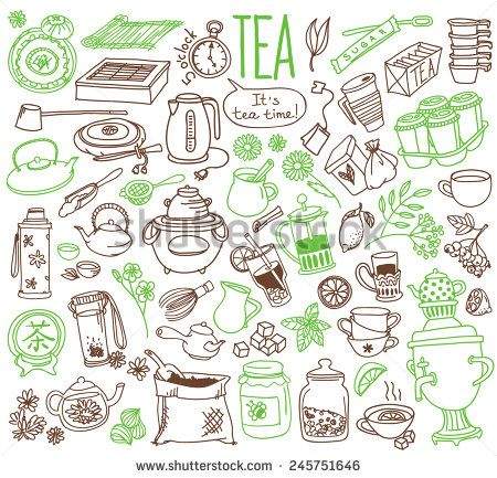 Set Of Doodles, Hand Drawn Rough Simple Tea Theme Sketches, Various